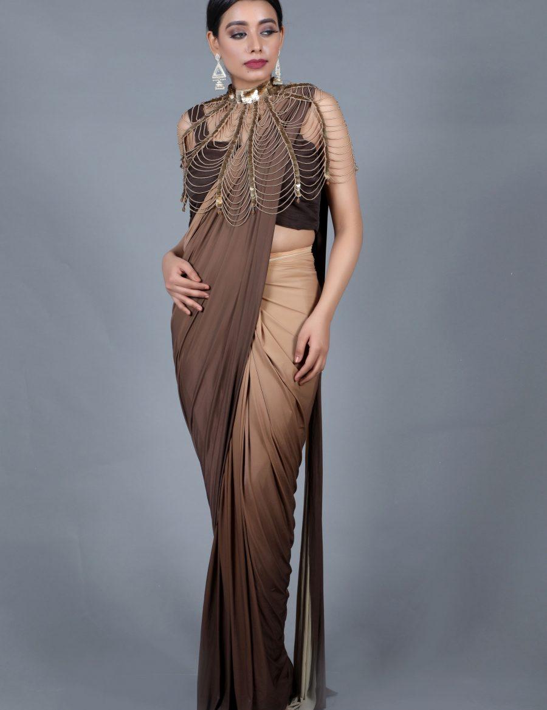 Stylish Light-Brown Ready-To-Wear Drape