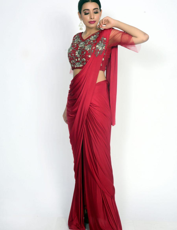 Stunning Lycra Red Ready Wear Drape