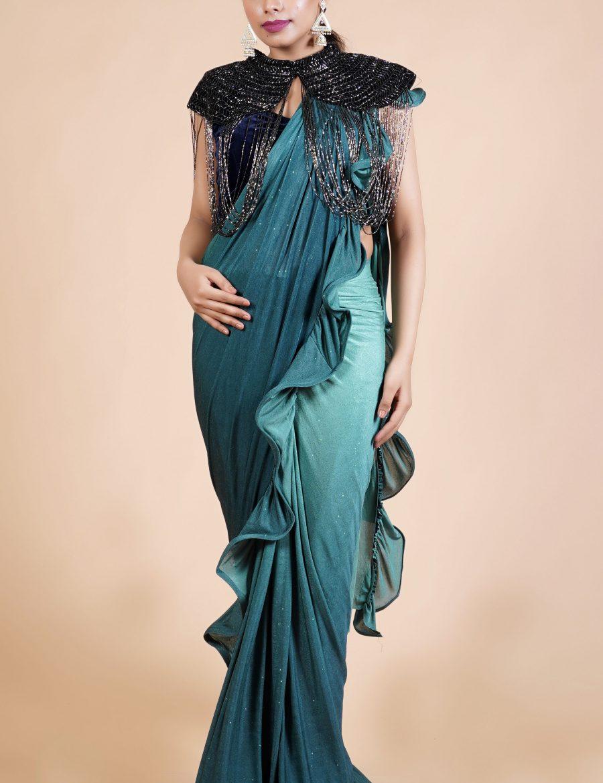 Light Green Lycra Saree Ready To Wear