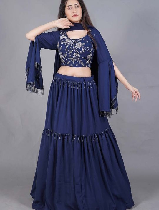 Blue Imported-Material Stitched Lehenga