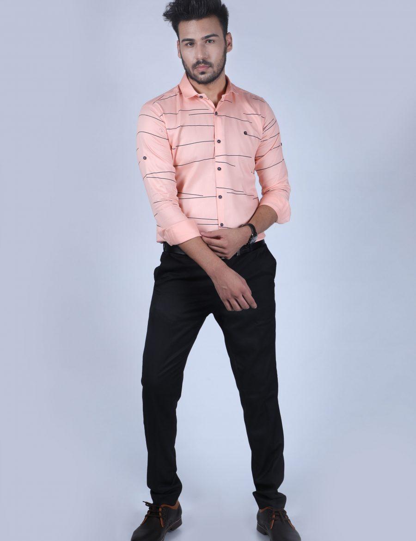 Stylish Light Pink And Navy Blue Printed Cotton Shirt