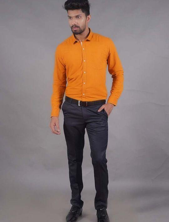 Classic Mustard Slim Fit Plain Cotton Shirt