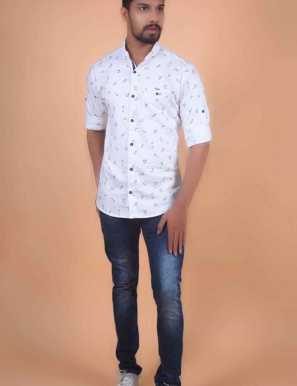 Adorable White Printed Cotton Shirt