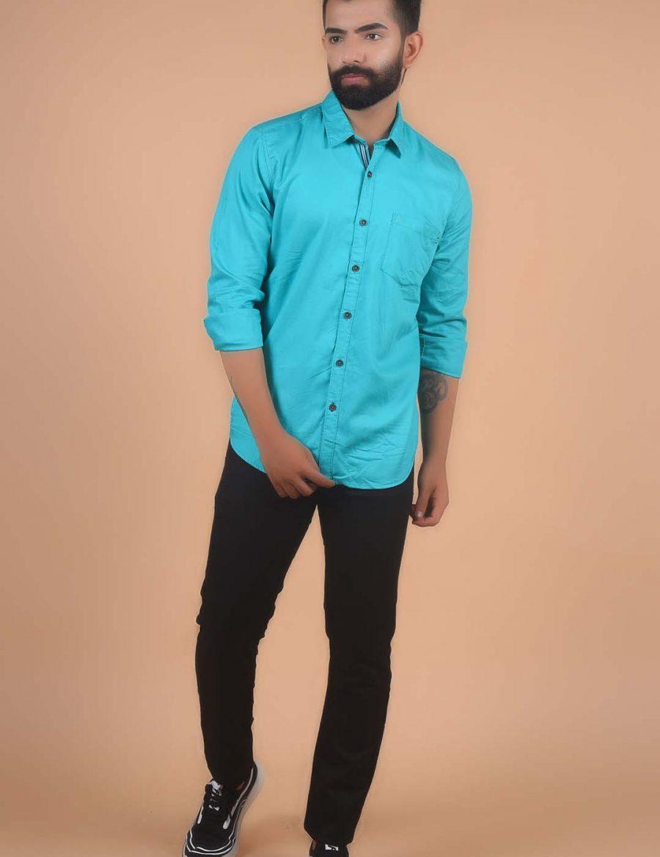 Classy Light Green Slim Fit Plain Cotton Shirt