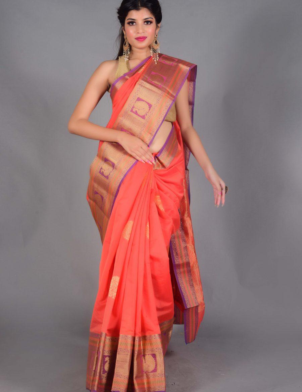 Stunning Gadwall Silk Saree With Zari border