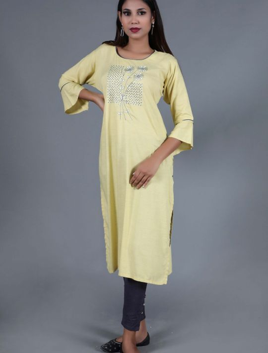 Beautiful Yellow Rayon Kurti With Thread Embroidery