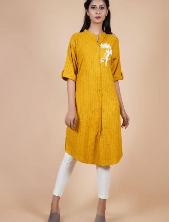 Yellow Shirt Style Kurti Printed Pure Cotton