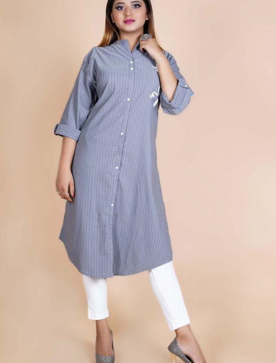 Steel Grey Shirt Kurti With Style Printed