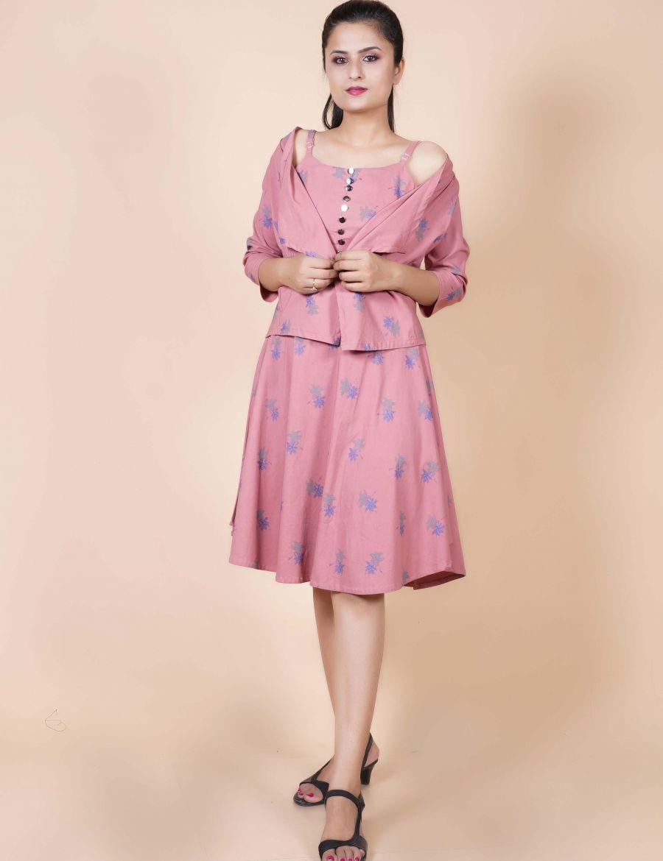 Trendy Pink One Piece Dress With Jacket