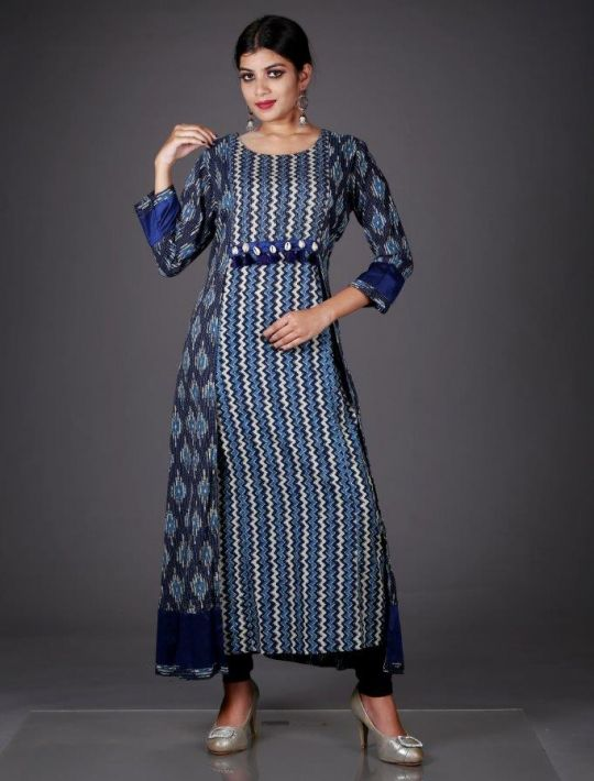 Trendy Blue Cotton Long Kurti
