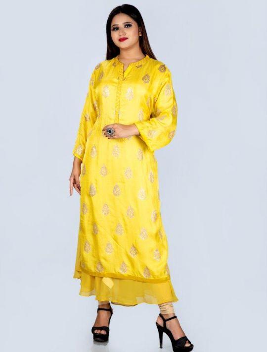 Designer Yellow Cotton Kurti Silk