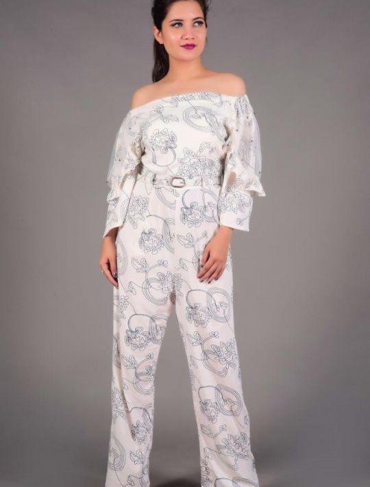 Stylish Pure White Imported Fabric Jumpsuit