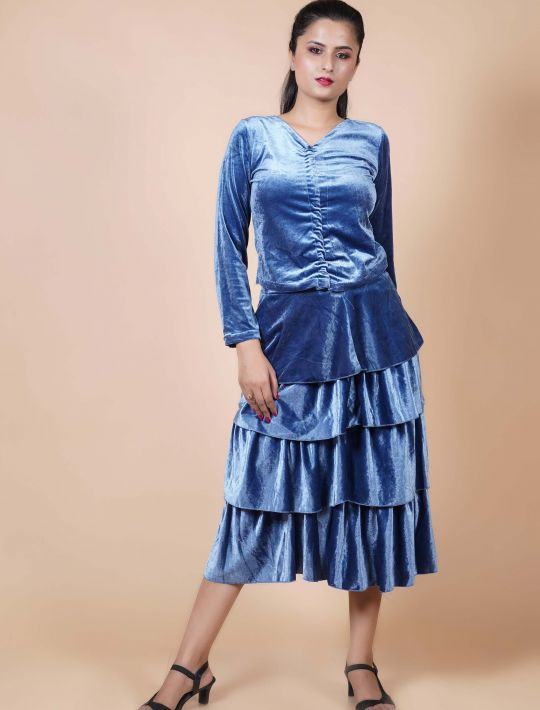 Tantalizing Ruffled Blue Crop-Top And Skirt