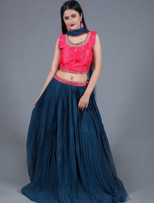 Designer Georgette Crop-Top and Skirt With Dupatta