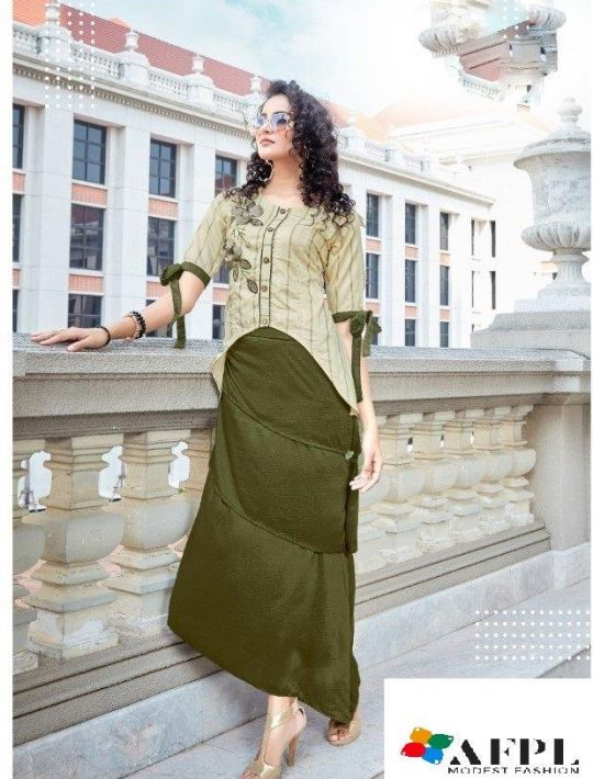Designer Cream Colour Crepe Silk Kurti And Skirt Set