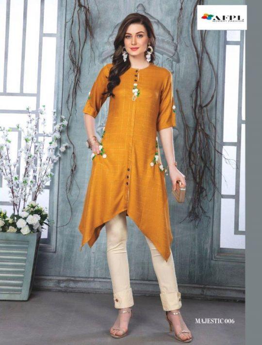 Designer Yellow Rayon kurti-pant set dress
