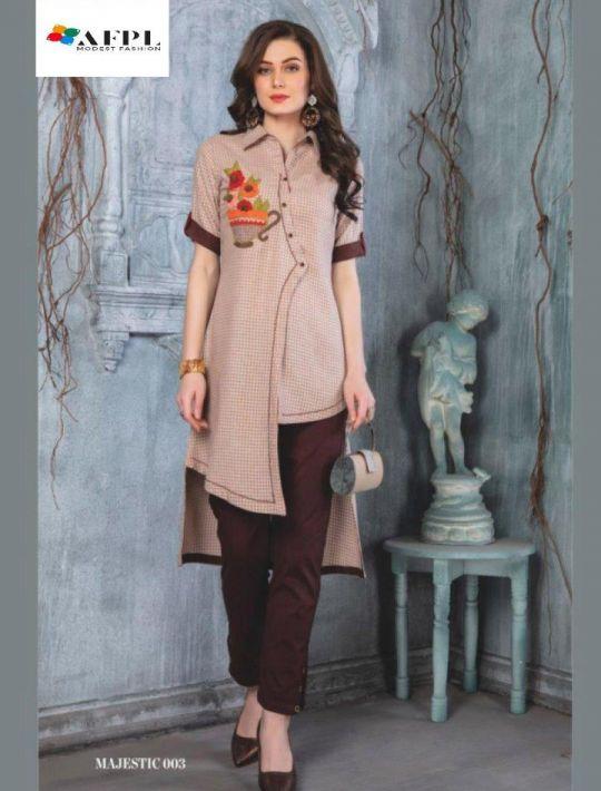 Designer Brown Rayon Kurti pant set dress