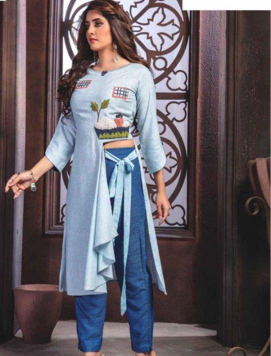 Designer Blue Kurti Pant Set Dress