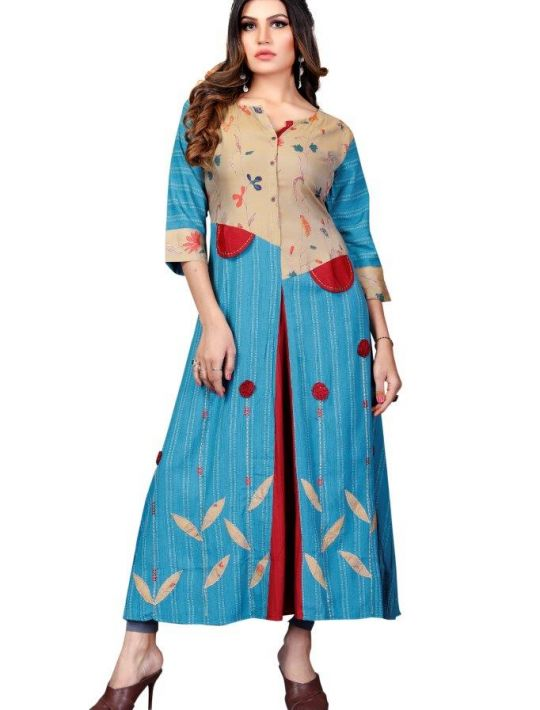 Designer Long Blue Kurti For Party Wear