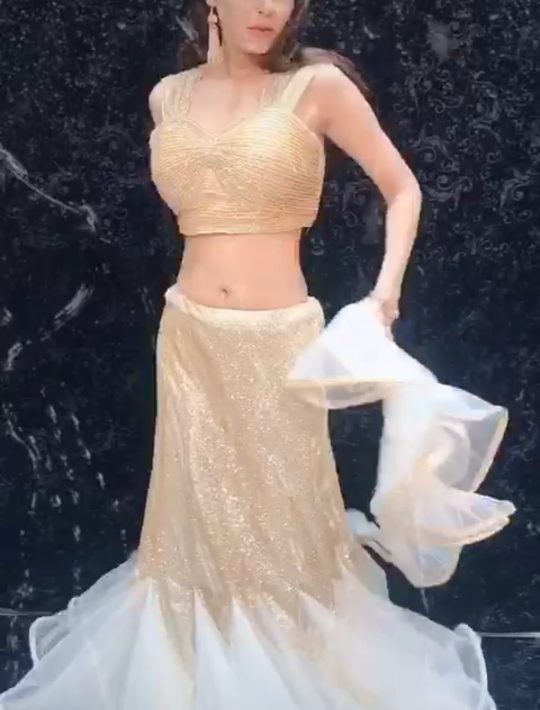 Alluring Golden Imported Fabric Glitter Skirt With Choli
