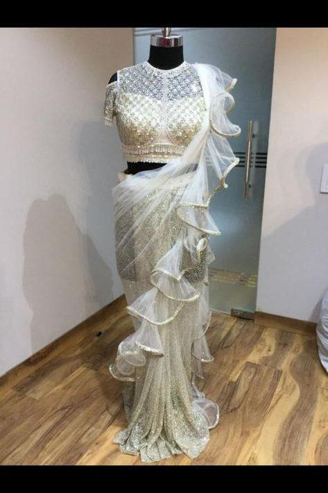 Stunning White Net Fabric Ready To Wear Saree