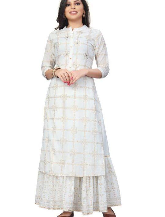 Trendy Off White Rayon 3 Piece Garara Set