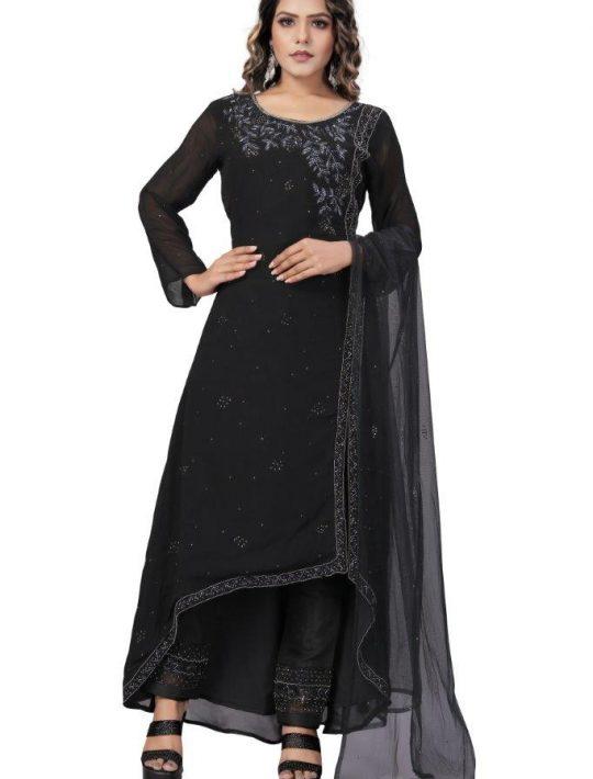 Designer Black Chiffon Fabric Pant Set With Kurta