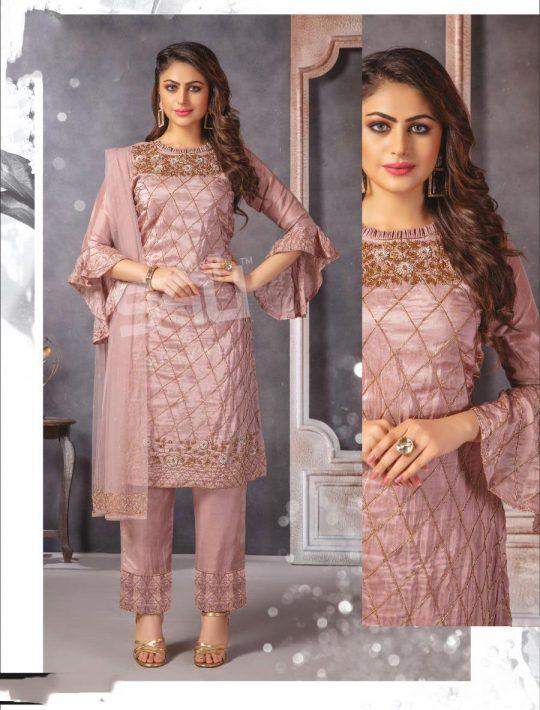 Marvellous Rose Gold Silk Kurti Pant Set With Dupatta