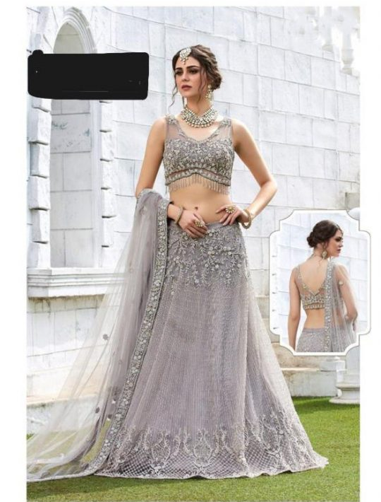 Pretty Steel Grey Net Crop Top Skirt With Dupatta