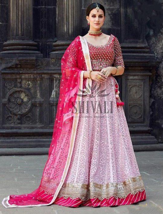 Adorable Pink Net Crop Top And Skirt