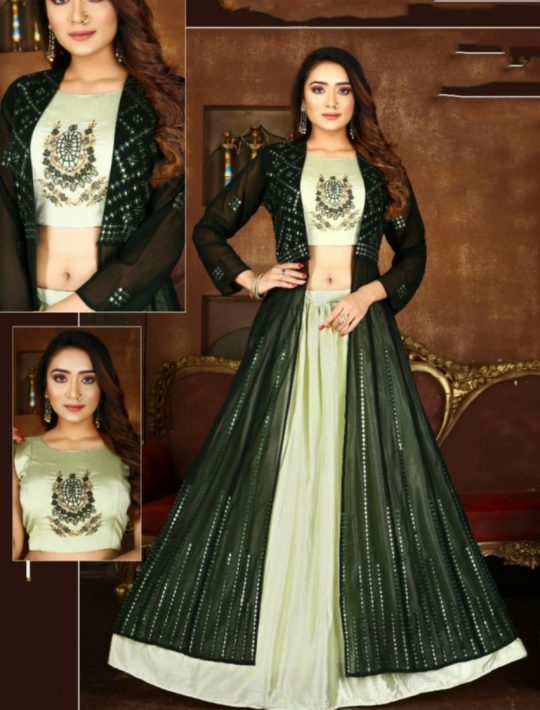 Alluring Green Chiffon Crop Top Skirt Set