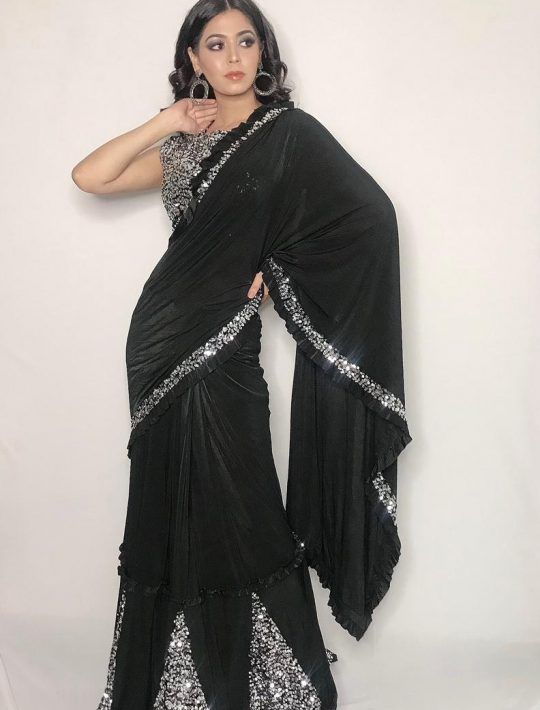 Surpassing Black Lycra Fabric Ready To Wear Saree