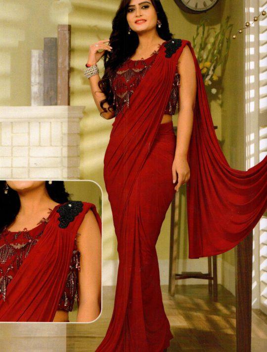 Stunning Maroon Lycra Ready To Wear Saree