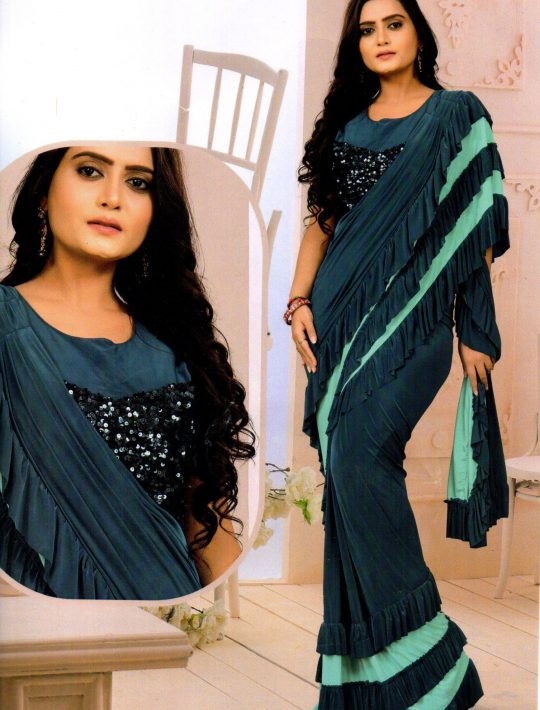 Impressive Blue Lycra Ready To Wear Saree