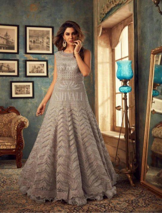 Modish Grey Net Fabric One Piece Dress