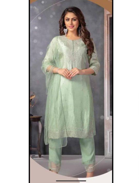 Lovely Light Green Silk Kurti Pant Set With Dupatta