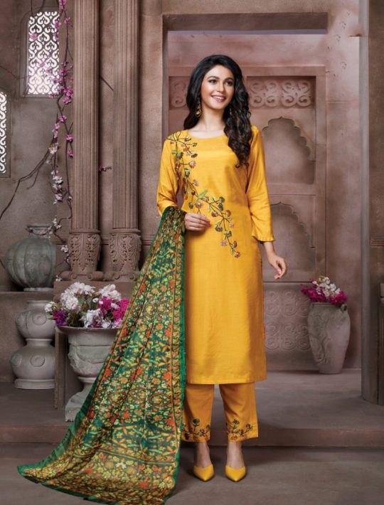 Opulent Yellow Silk Kurti Pant Set With Dupatta