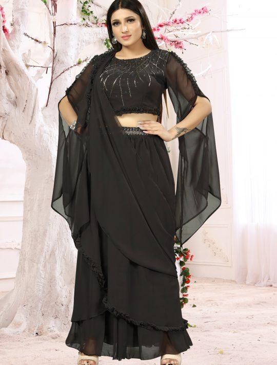 Stunning Black Chiffon Fabric Crop Top And Skirt