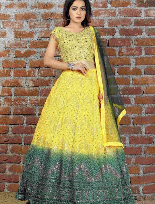 Impressive Yellow Chiffon Crop Top And Skirt With Dupatta