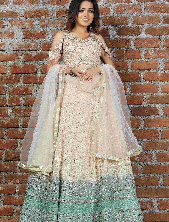 Stylish Cream Chiffon Crop Top And Skirt With Dupatta