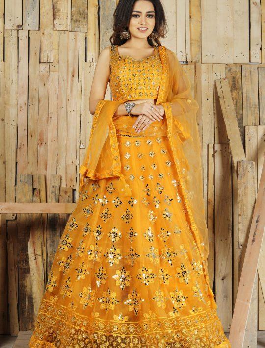 Opulent Yellow Net Crop Top And Skirt