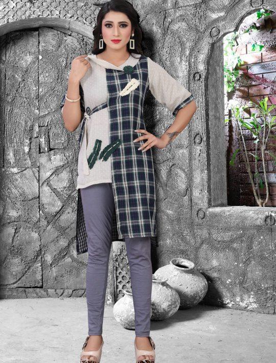 Stylish Blue Rayon Fabric Kurti Design