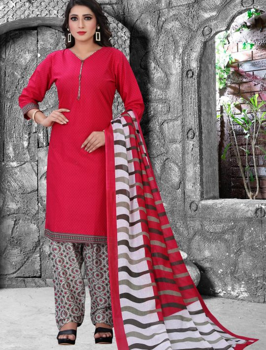 Demanding Pink Cambric Cotton Patiala Set