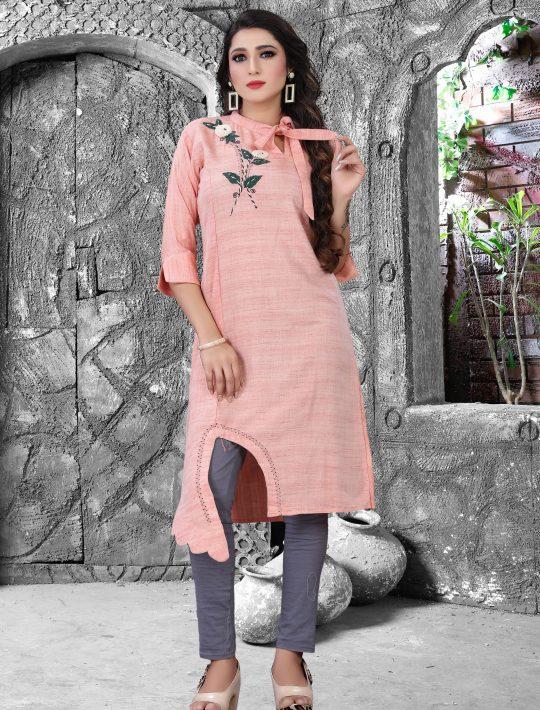 Classy pink rayon two piece kurta pant set