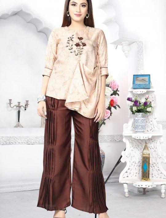 Enticing Rose Gold Silk Kurta Pant Set
