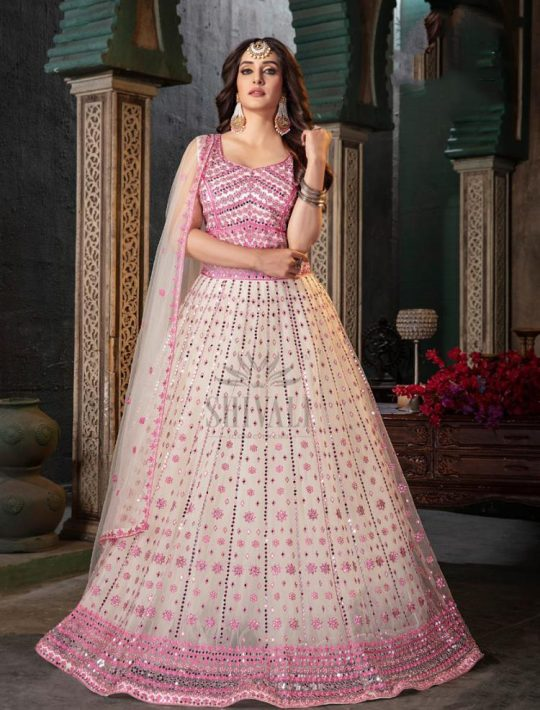 Gorgeous Light Pink Net Crop Top Skirt Set