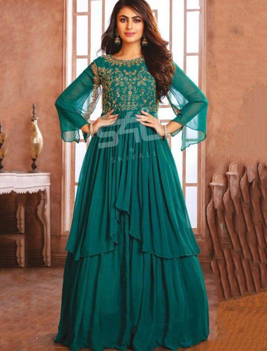 Fabulous Green Chiffon Long One piece Dress