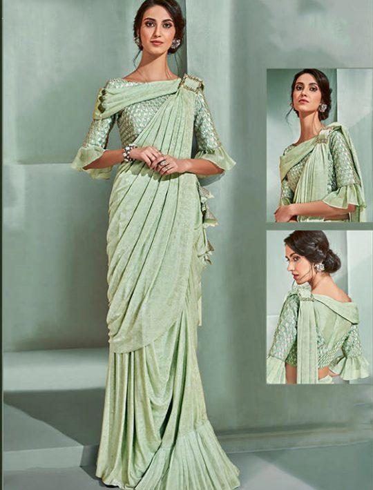 Astonishing Green Lycra Ready To Wear Saree
