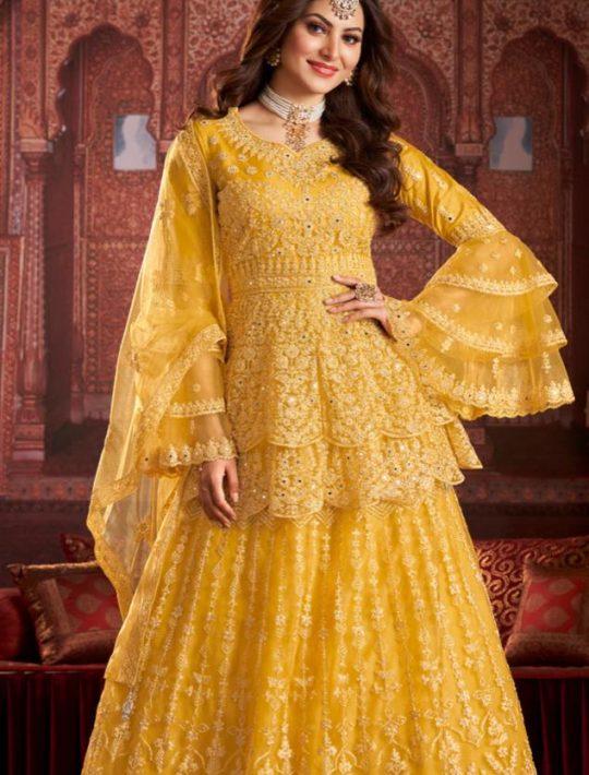 Elegant Net Yellow Pamplin Top and Skirt Set