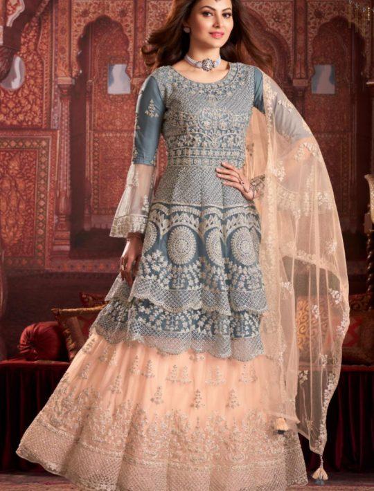 Elegant Net Grey Pamplin Top and Skirt Set